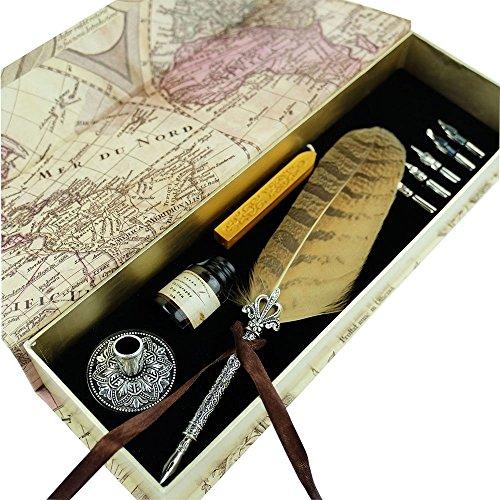 GC Schreibfeder-Set Antike Eulenfeder Metallüberzogener