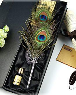 EgoEra-Retro-Pfauenfedern-Kalligraphie-Federhalter-Set-Federkiel-Schreibfeder-Kugelschreiber-mit-Tintenfass-Stifthalter-und-5-Stck-Nib-0