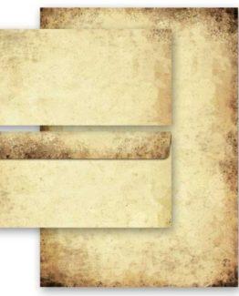 20-tlg-Motivpapier-Komplett-Set-ALTES-PAPIER-10-Blatt-Briefpapier-und-10-Briefumschlge-DIN-LANG-ohne-Fenster-0