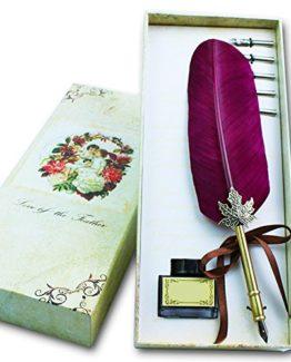 Retro-Gans-Federkiel-Soriace-Elegant-Kalligraphie-Stifte-Geschenkset-mit-Feder-Stift-Tinte-Flasche-5er-Metall-Schreibfeder-Wein-0