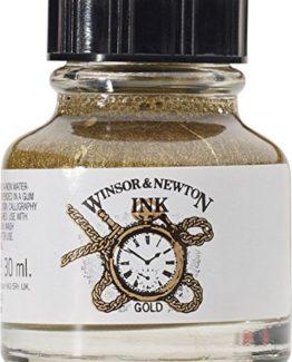 Winsor-Newton-1010283-Drawing-Inks-Zeichentusche-fr-Kalligraphen-Illustratoren-Grafikern-und-Knstler-wasserbestndige-Tinte-mit-herrvorragender-Transparenz-30-ml-Flasche-gold-0
